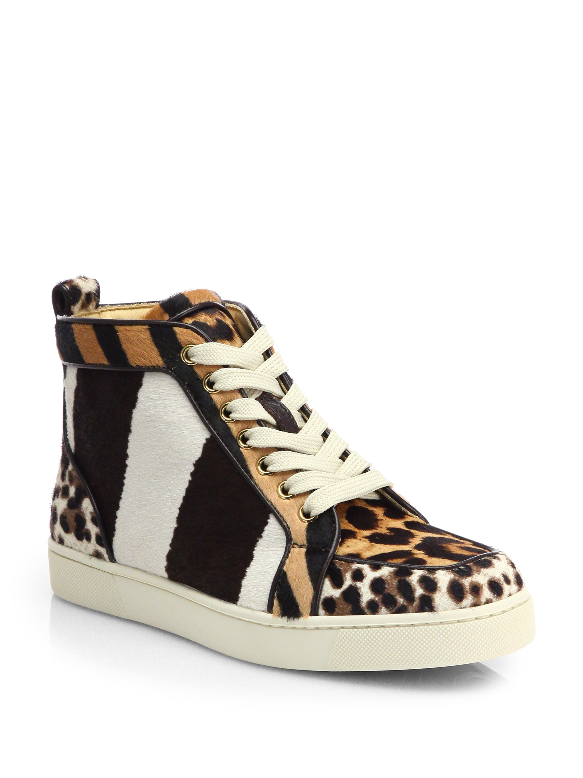christian louboutin rantus orlato mixed animal print calf hair sneakers lyst. Black Bedroom Furniture Sets. Home Design Ideas