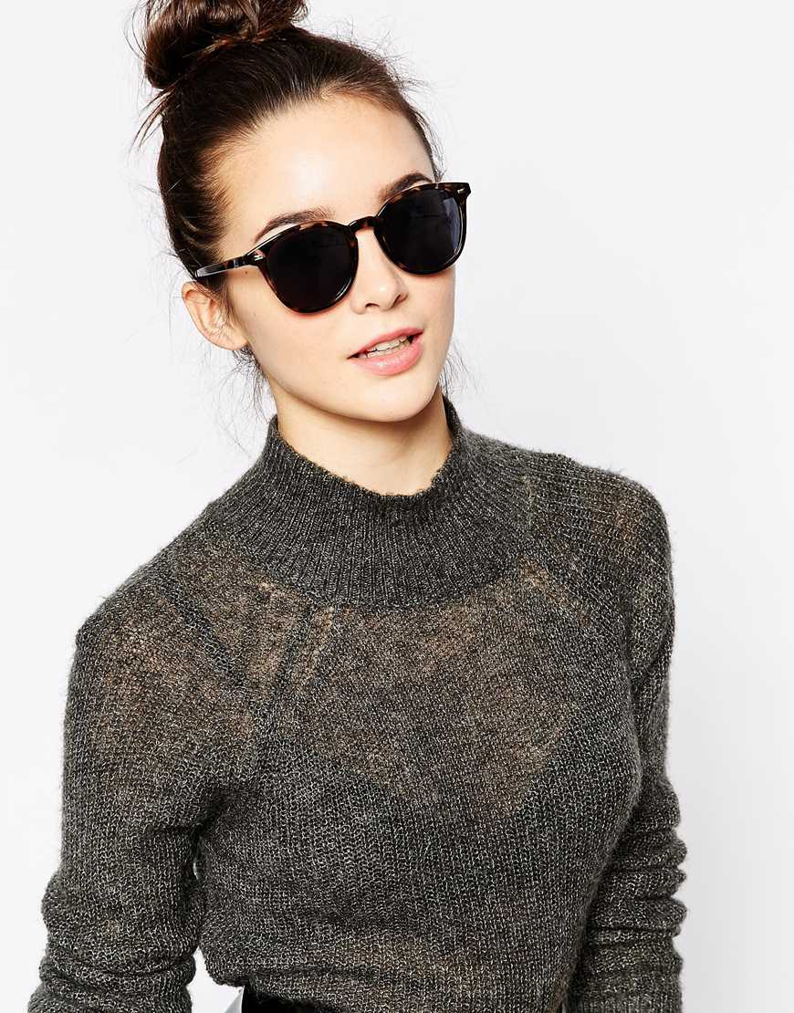 e4b223bda6 Lyst - Le Specs Bandwagon Round Sunglasses in Brown