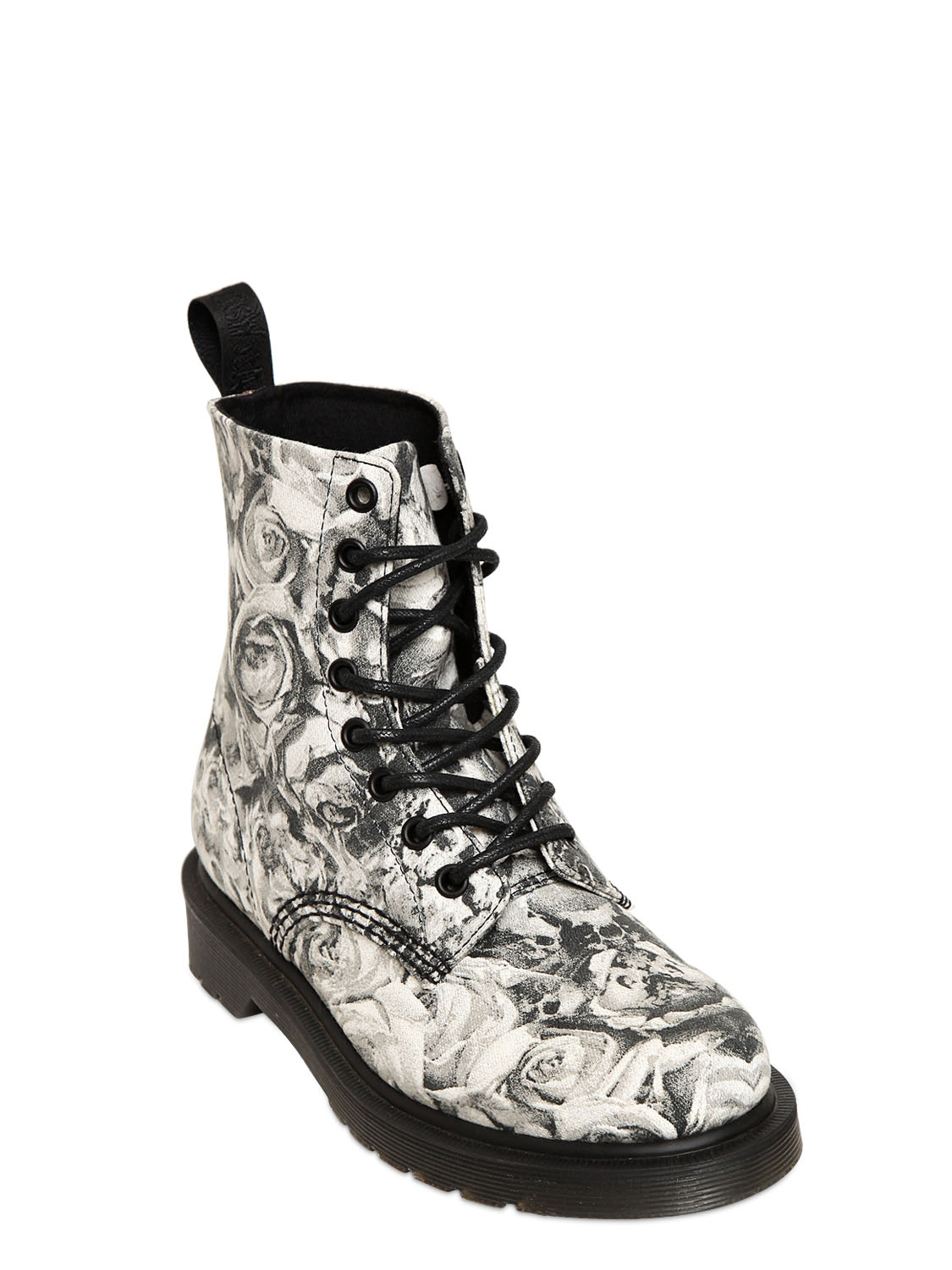 Dr Martens 30mm Skull Roses Printed Canvas Boots In Black