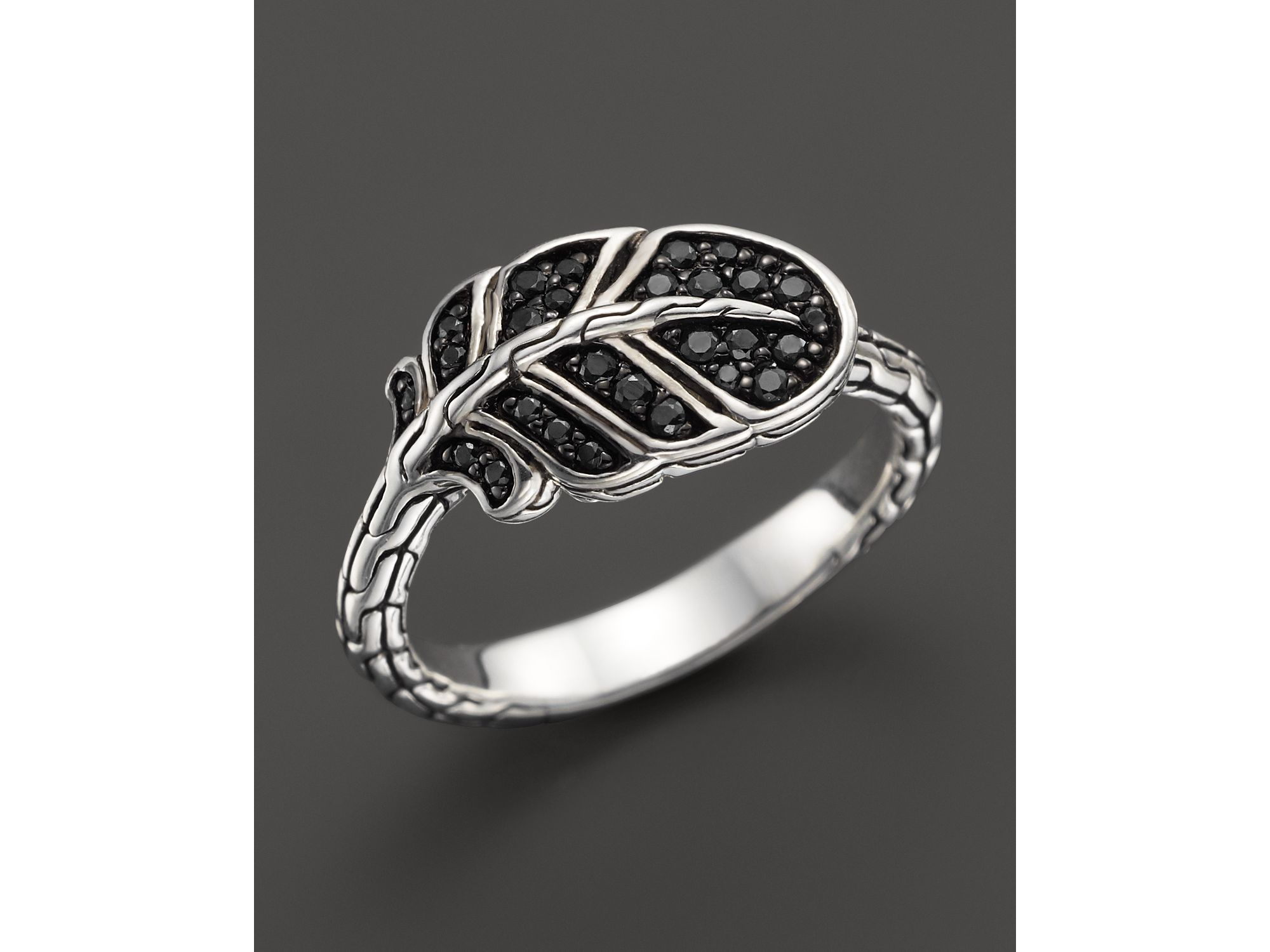 John Hardy Classic Chain Silver Dome Ring with Black Sapphire & Black Spinel iM3uKMus