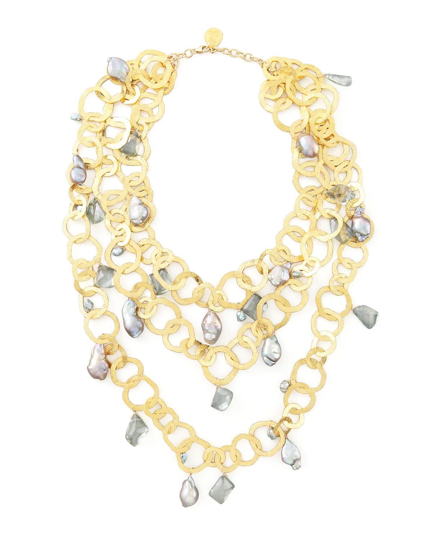 900a1b373e0f Lyst - Devon Leigh Triple-strand Flat-link Pearl Necklace in Metallic