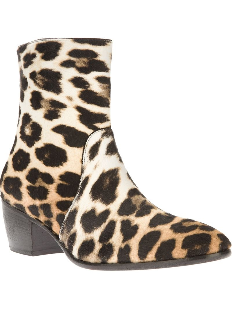 b6c7c7d058b3 Giuseppe Zanotti Leopard Print Ankle Boots in Natural for Men - Lyst