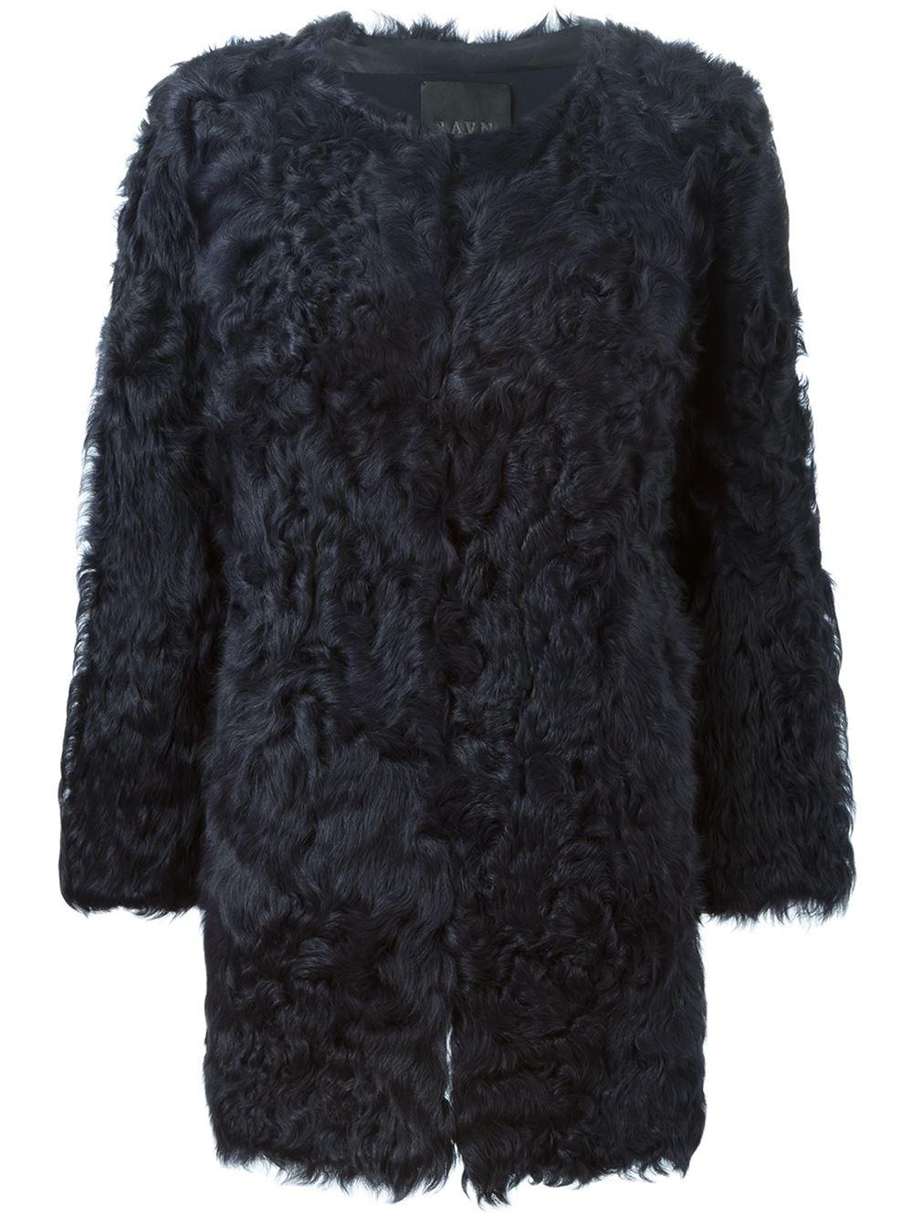 Ravn Curly Fur Coat in Blue | Lyst