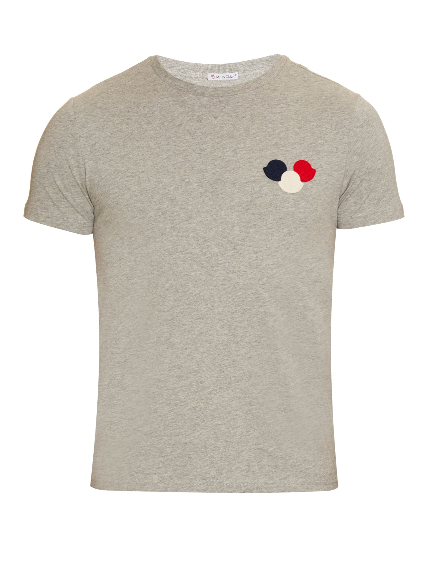 lyst moncler logo appliqu cotton t shirt in gray for men. Black Bedroom Furniture Sets. Home Design Ideas