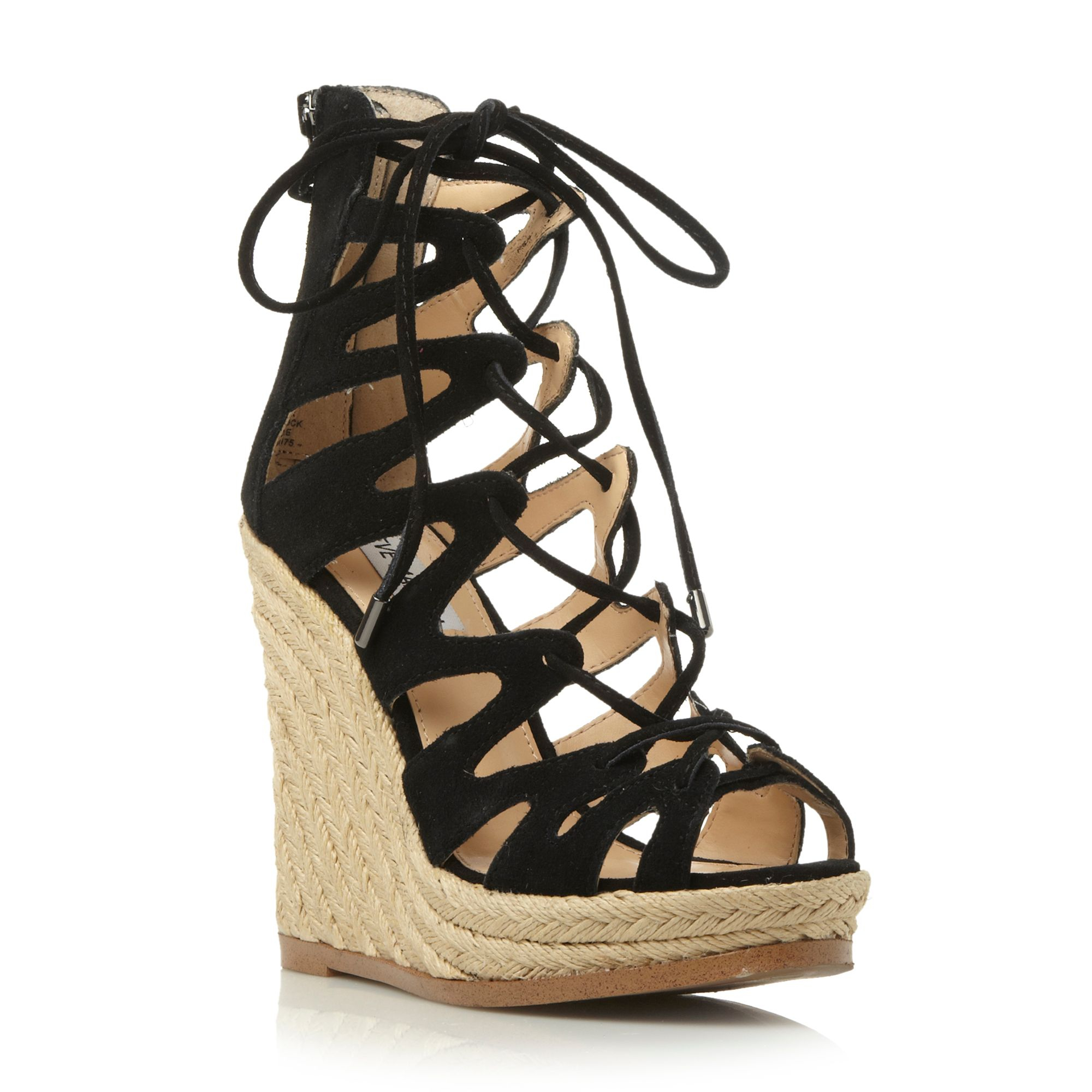 steve madden theea caged wedge sandal in black lyst