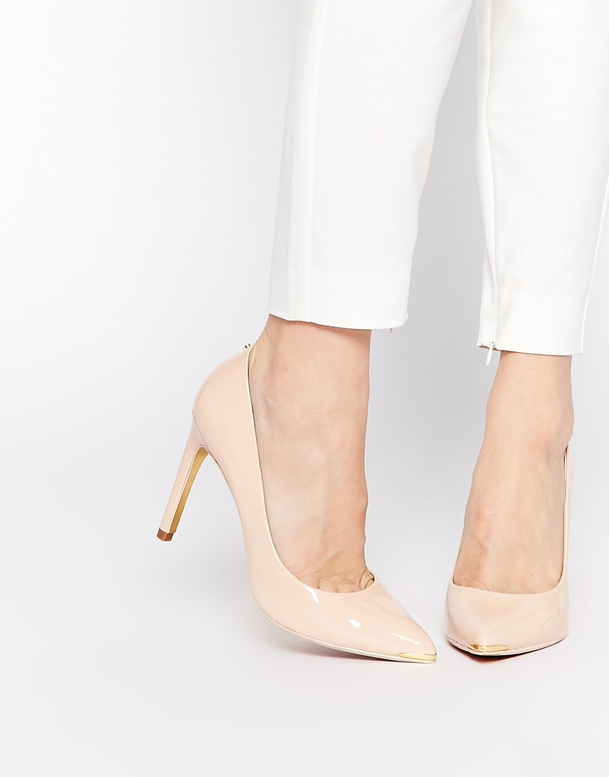 0404dd008e50d1 Lyst - Ted Baker Neevo 4 Nude Patent Heeled Pumps in Natural