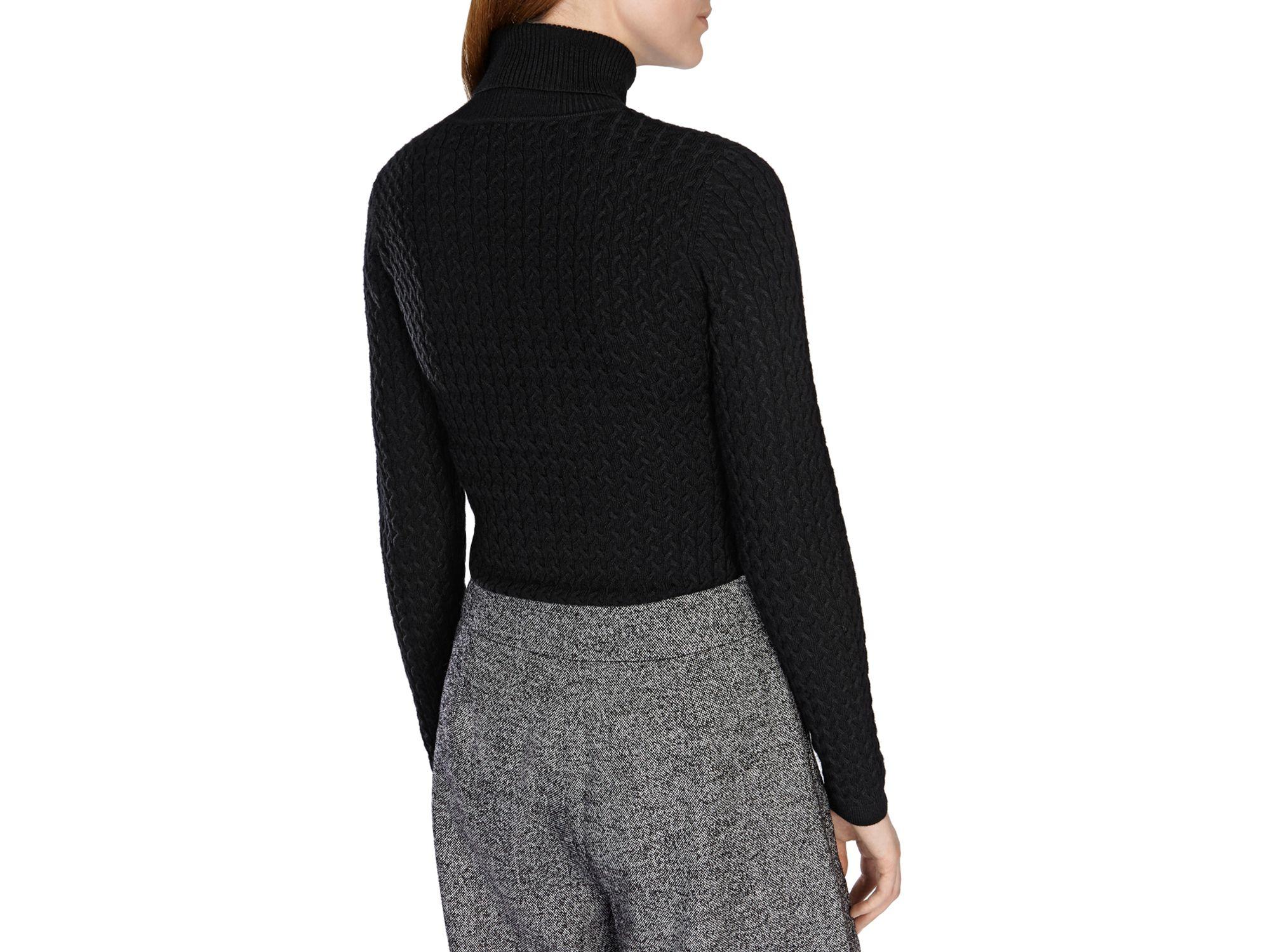 Karen millen Fine Gauge Cable Knit Sweater in Black | Lyst
