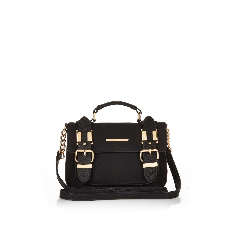 River island Black Faux Suede Mini Satchel Handbag in Black | Lyst