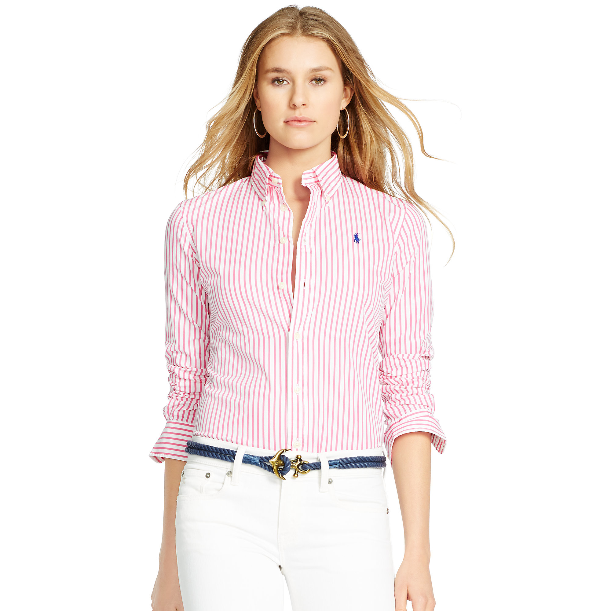 Polo ralph lauren custom fit striped shirt in pink lyst for Pink and white ralph lauren shirt