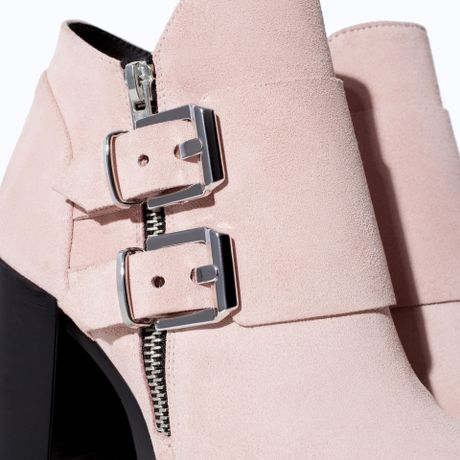 Pink Suede Ankle Boots Ankle Boot in Pink Zara