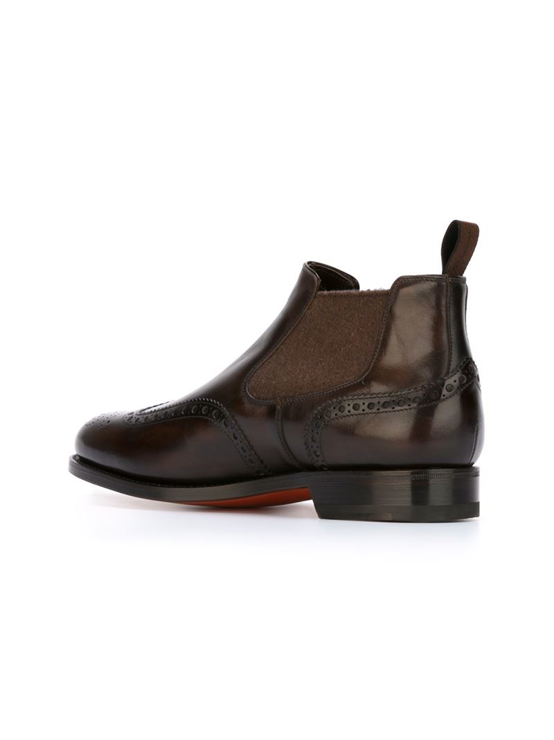 santoni brogue boots in brown for lyst