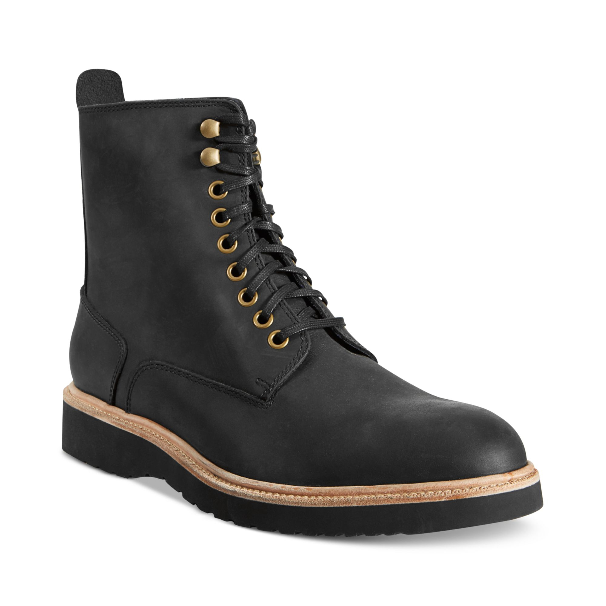 cole haan martin waterproof wedge lace boots in black for