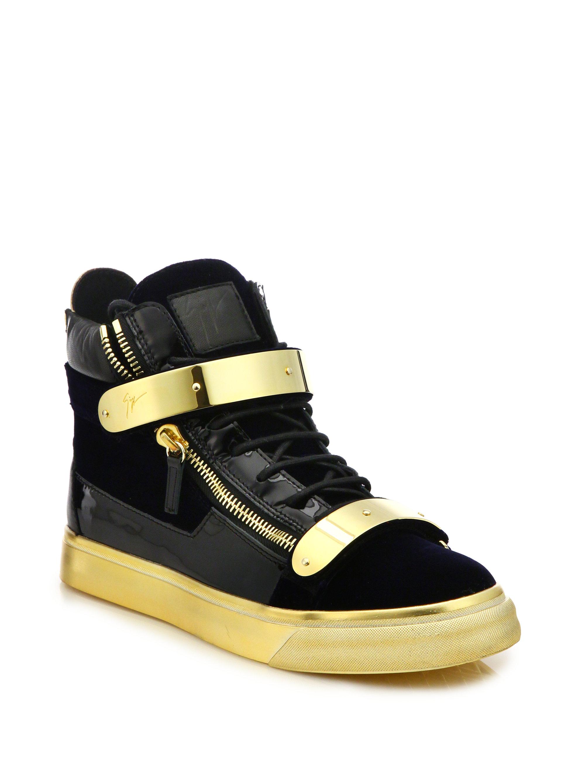 39462d5d4fb7 Lyst - Giuseppe Zanotti Double Zip Velvet Metallic High-top Sneakers ...