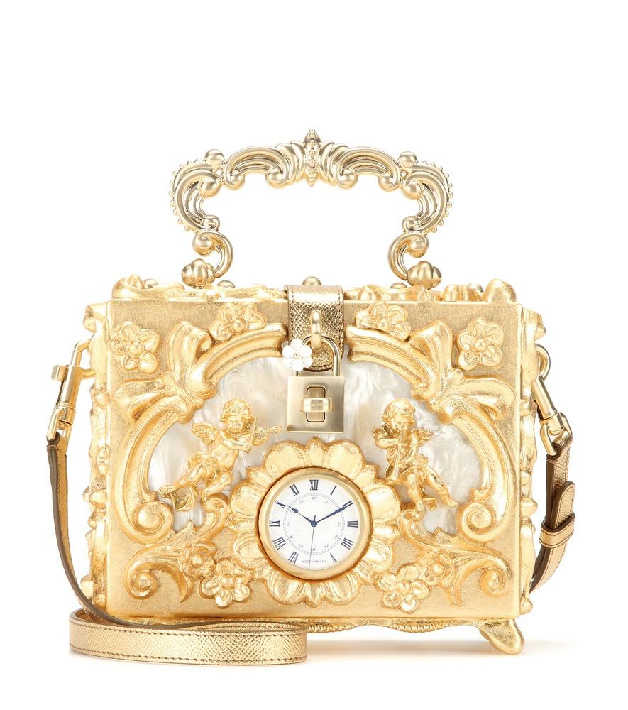 c6b5860015ad Dolce   Gabbana Dolce Embellished Wooden Shoulder Bag in Metallic - Lyst