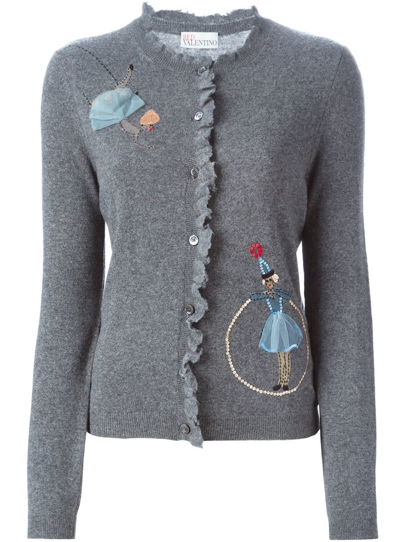 Red valentino Embroidered Sequin Doll Cardigan in Gray | Lyst