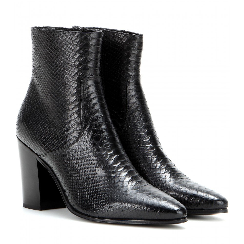 laurent embossed leather ankle boots in black lyst