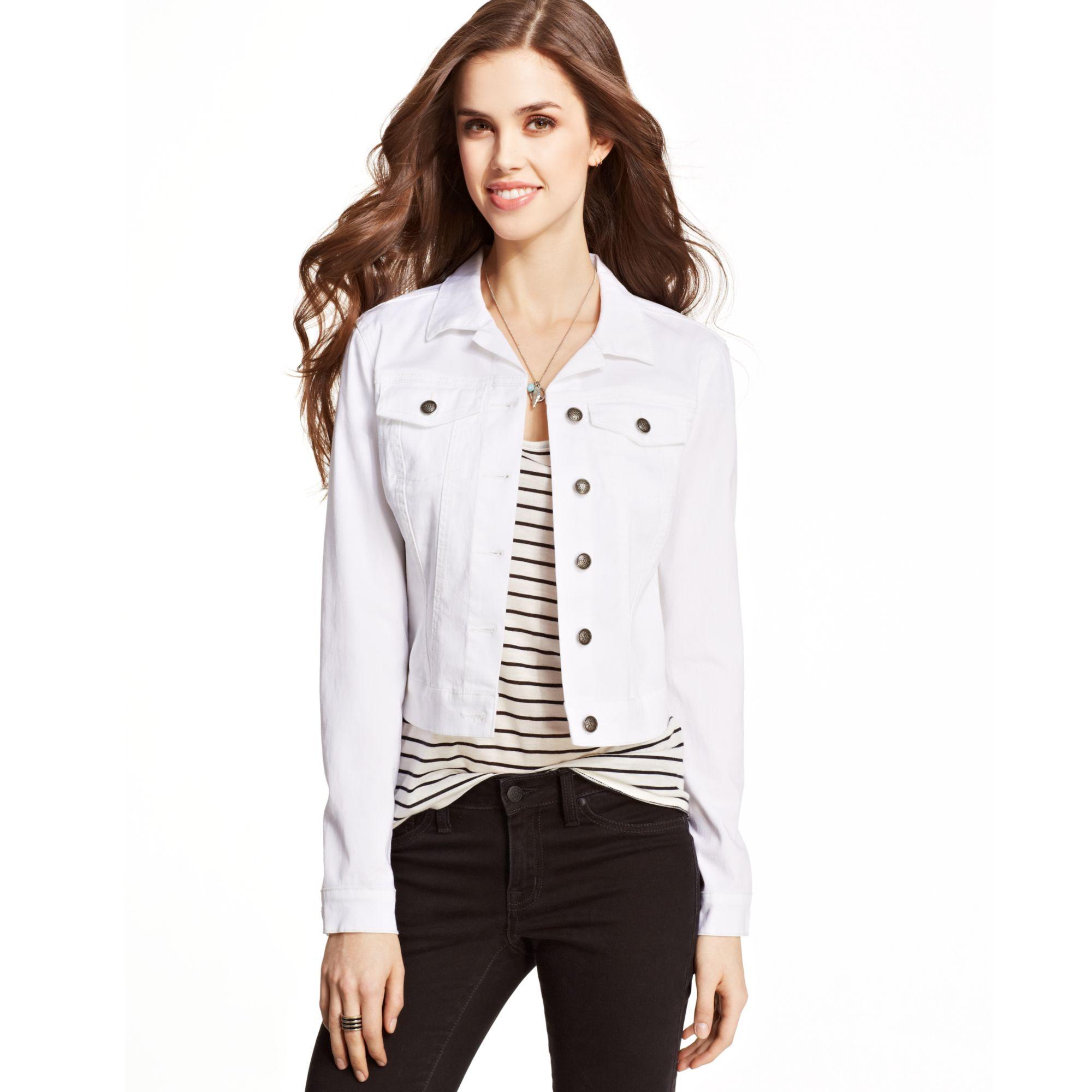 1fe48c8342 Jessica Simpson Pixie Whitewash Denim Jacket in White - Lyst