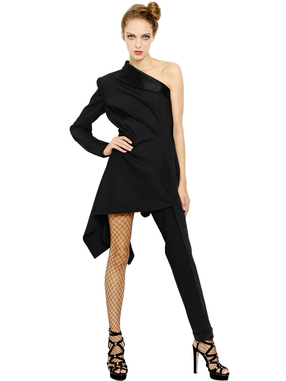 Lyst jean paul gaultier stretch wool tuxedo dress in black for Jean paul gaultier clothing