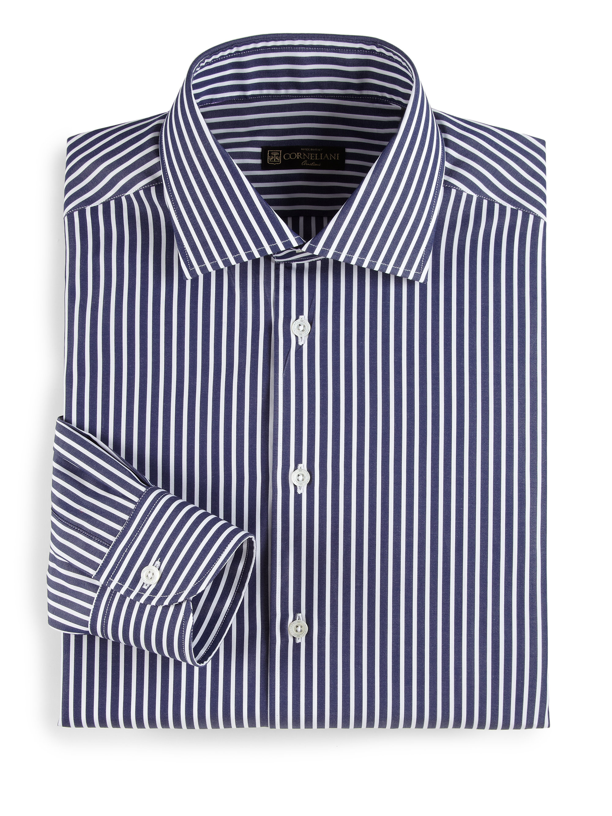 Lyst corneliani wide striped dress shirt in blue for men for Blue striped shirt mens