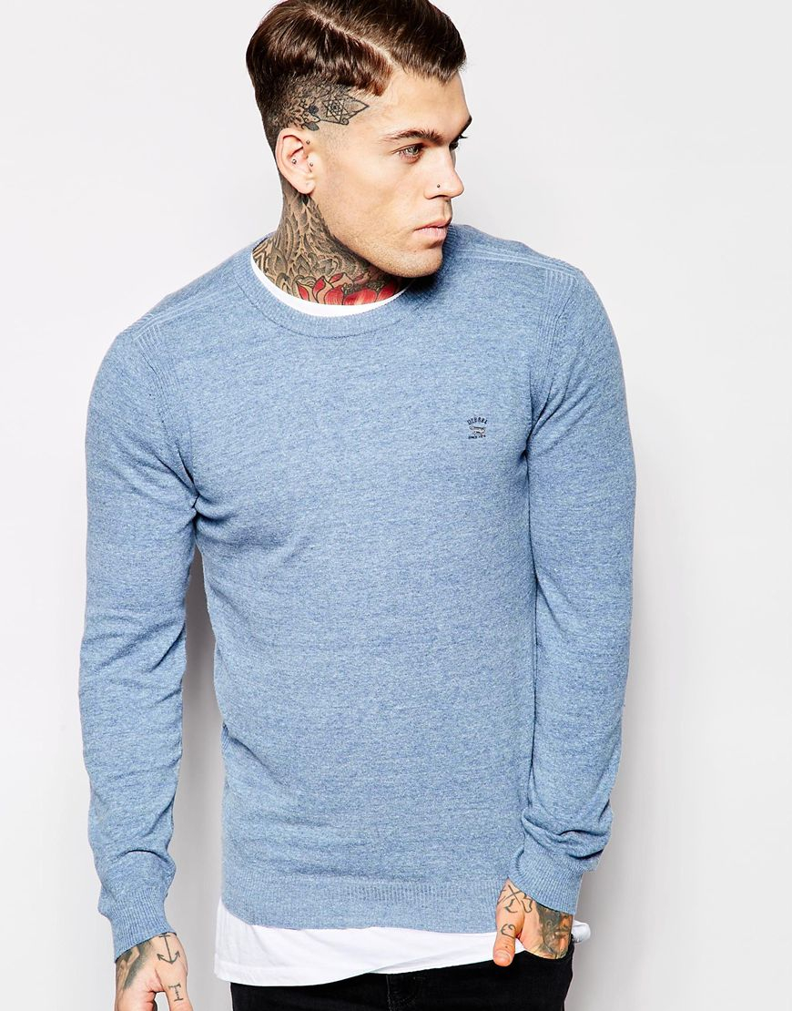 Diesel Crew Knit Sweater K-maniky Slim Fit Light Weight in Blue ...