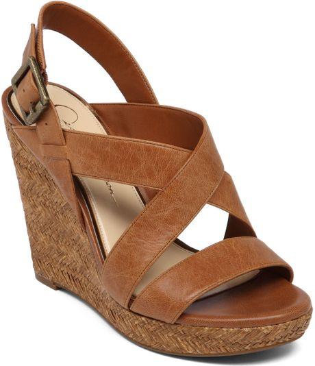 Jessica Simpson Jerrimo Platform Wedge Sandals In Brown