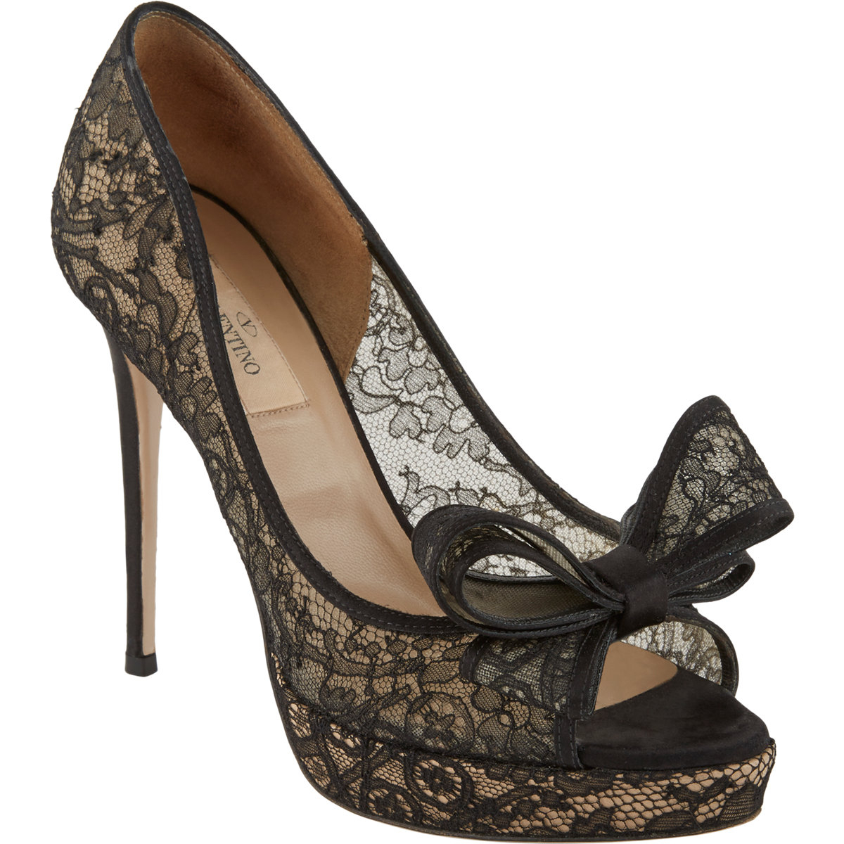 Black lace heels with bow - photo#5