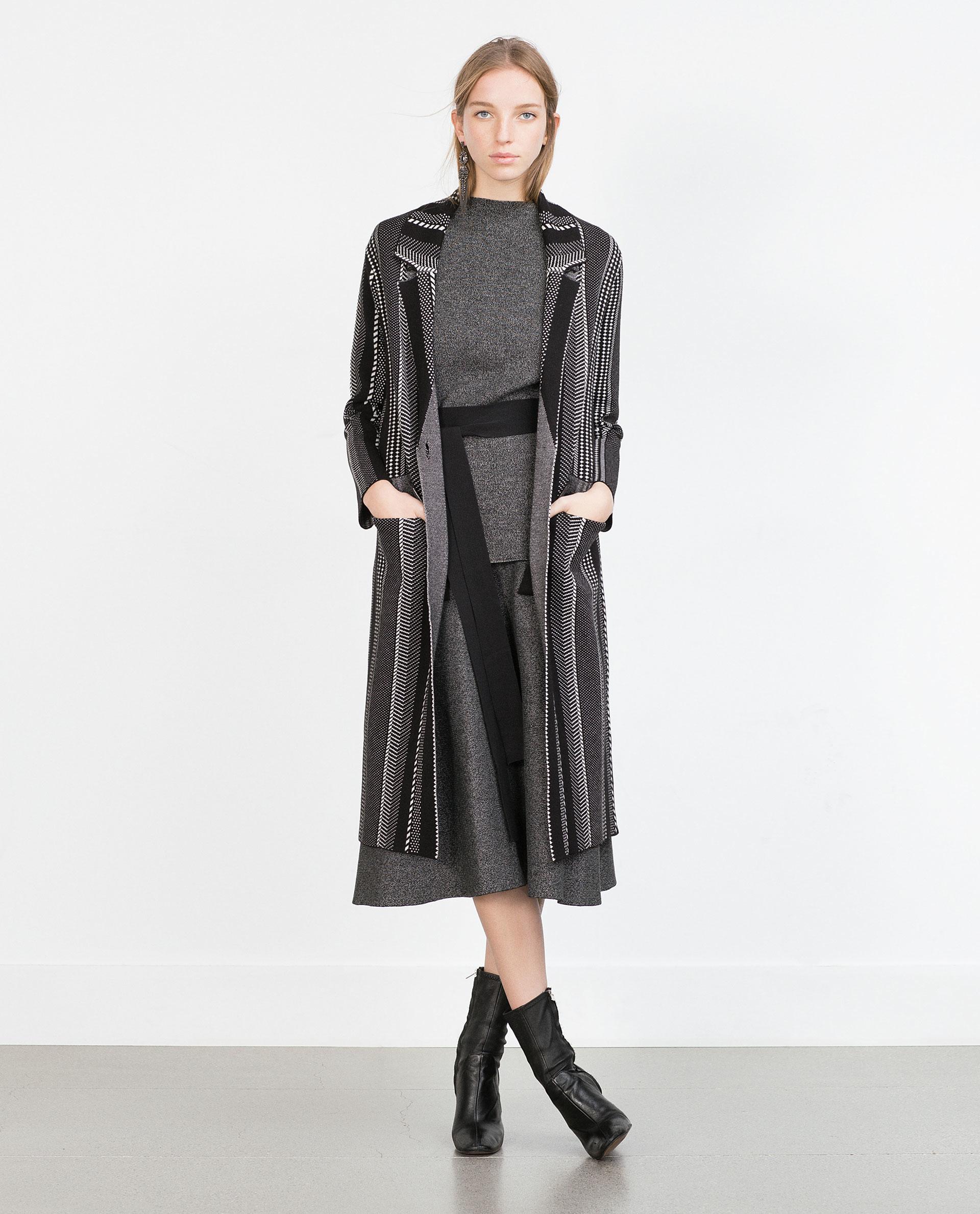 Zara Long A-line Skirt in Black | Lyst