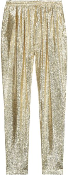 Stella Mccartney Christine Silk Blend Lamé Tapered Pants in Gold