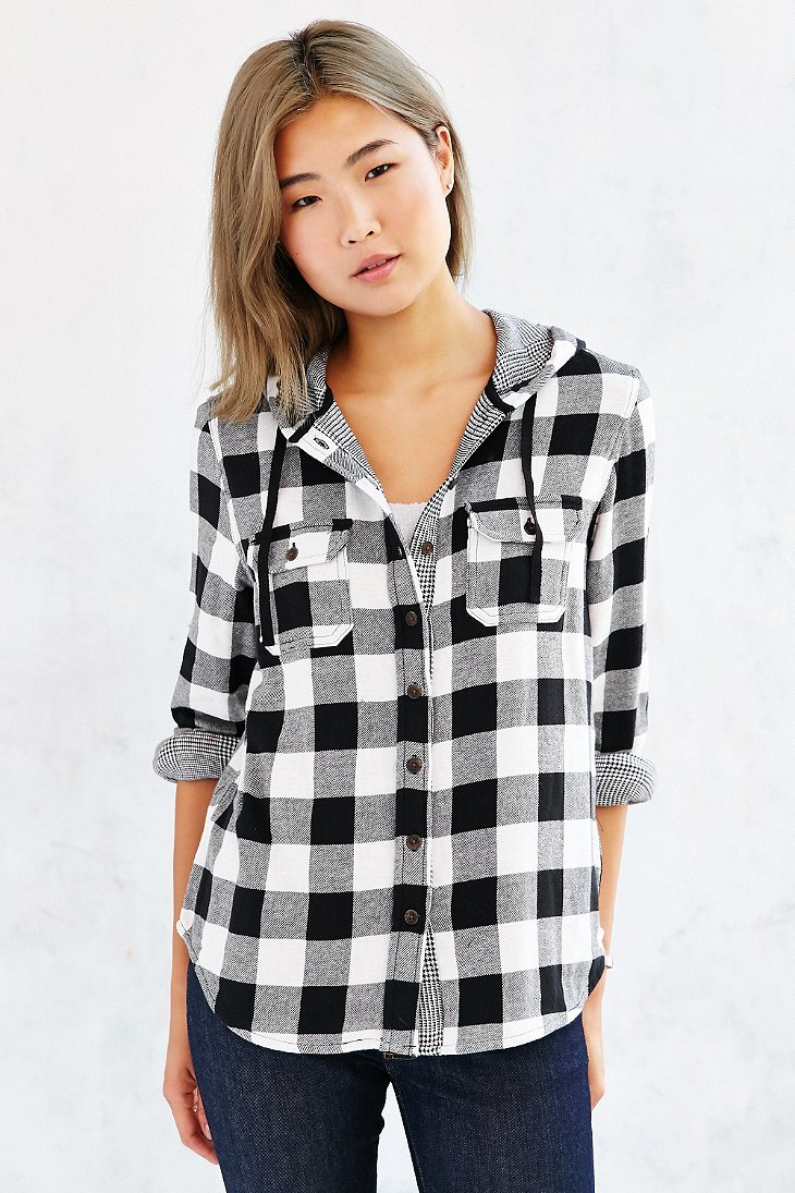 Bdg hooded double cloth button down flannel shirt jacket for White and black flannel shirt womens