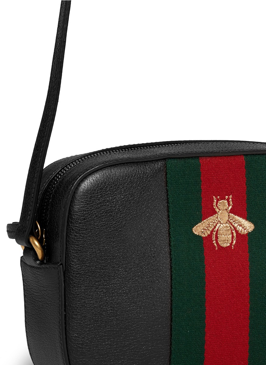 1d5d79fc0e60 Gucci 'webby' Bee Embroidery Web Leather Crossbody Bag in Red - Lyst