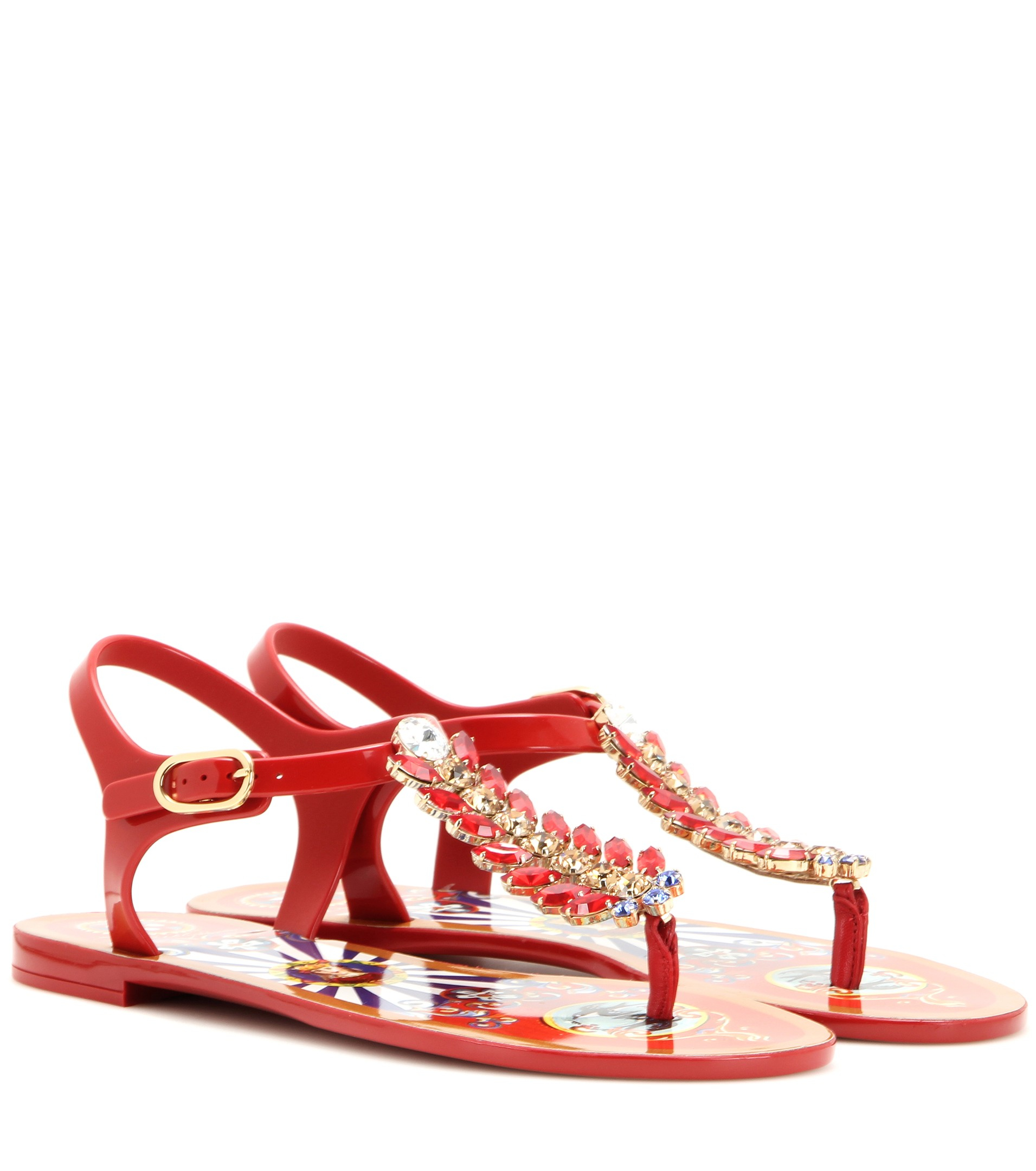 Dolceamp; Sandals In Red Gabbana Crystal Embellished Lyst c35ARjLq4