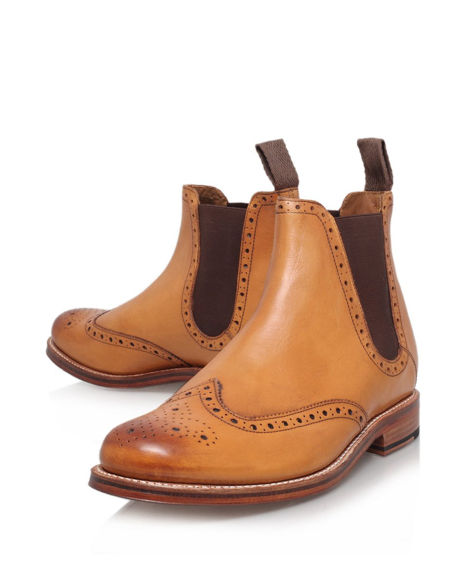 Foot the coacher Tan Jacob Wingtip Leather Chelsea Boots in Brown ...