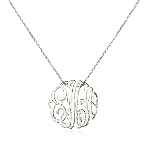 ginette ny mini lace monogram necklace white gold in. Black Bedroom Furniture Sets. Home Design Ideas