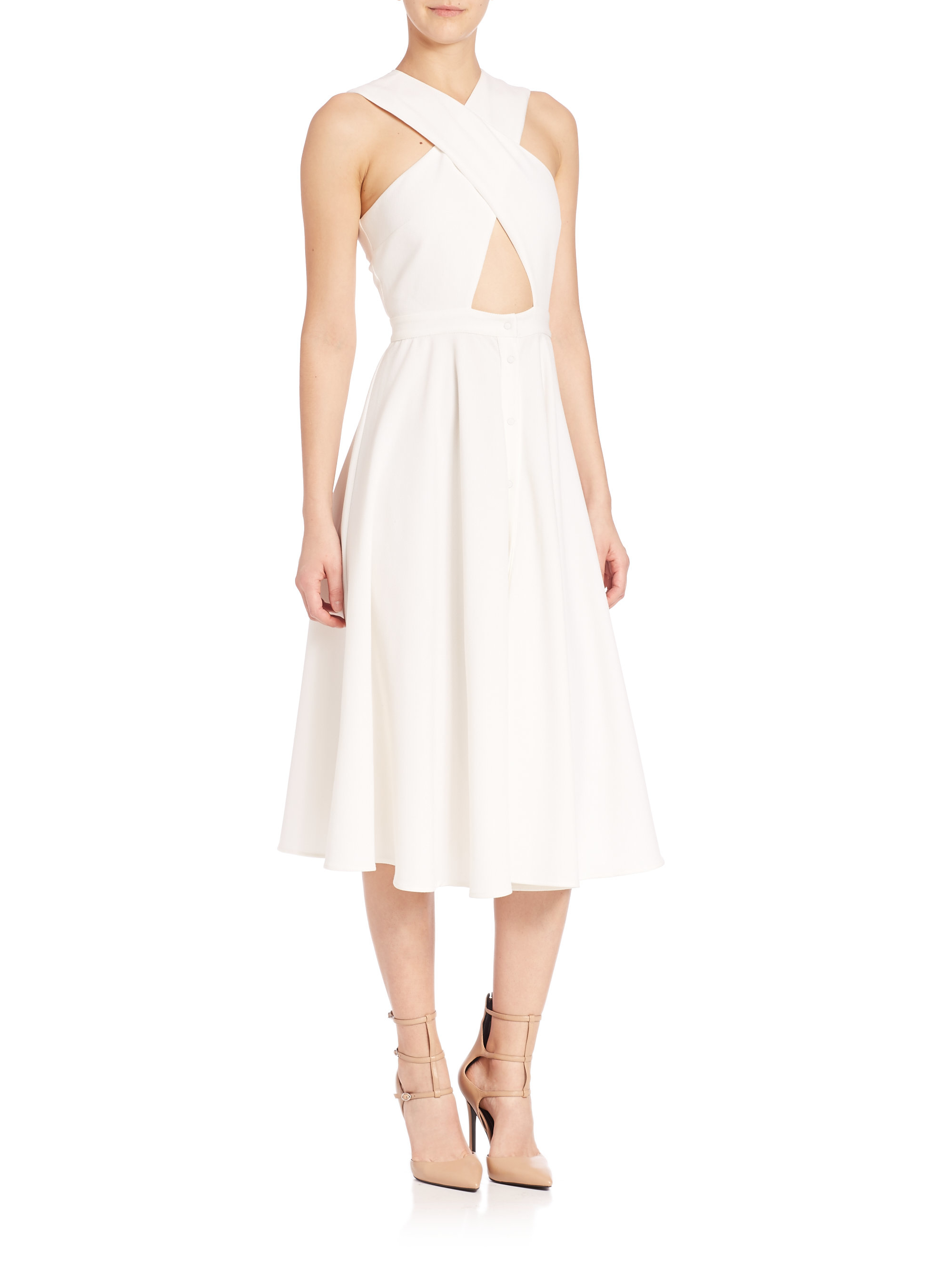 Lyst Kendall Kylie Cross Front Crepe Dress In White