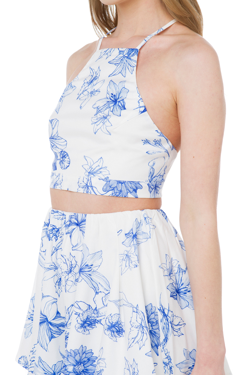 Akira Black Label Sweetest Love Blue White Floral Print Halter Crop