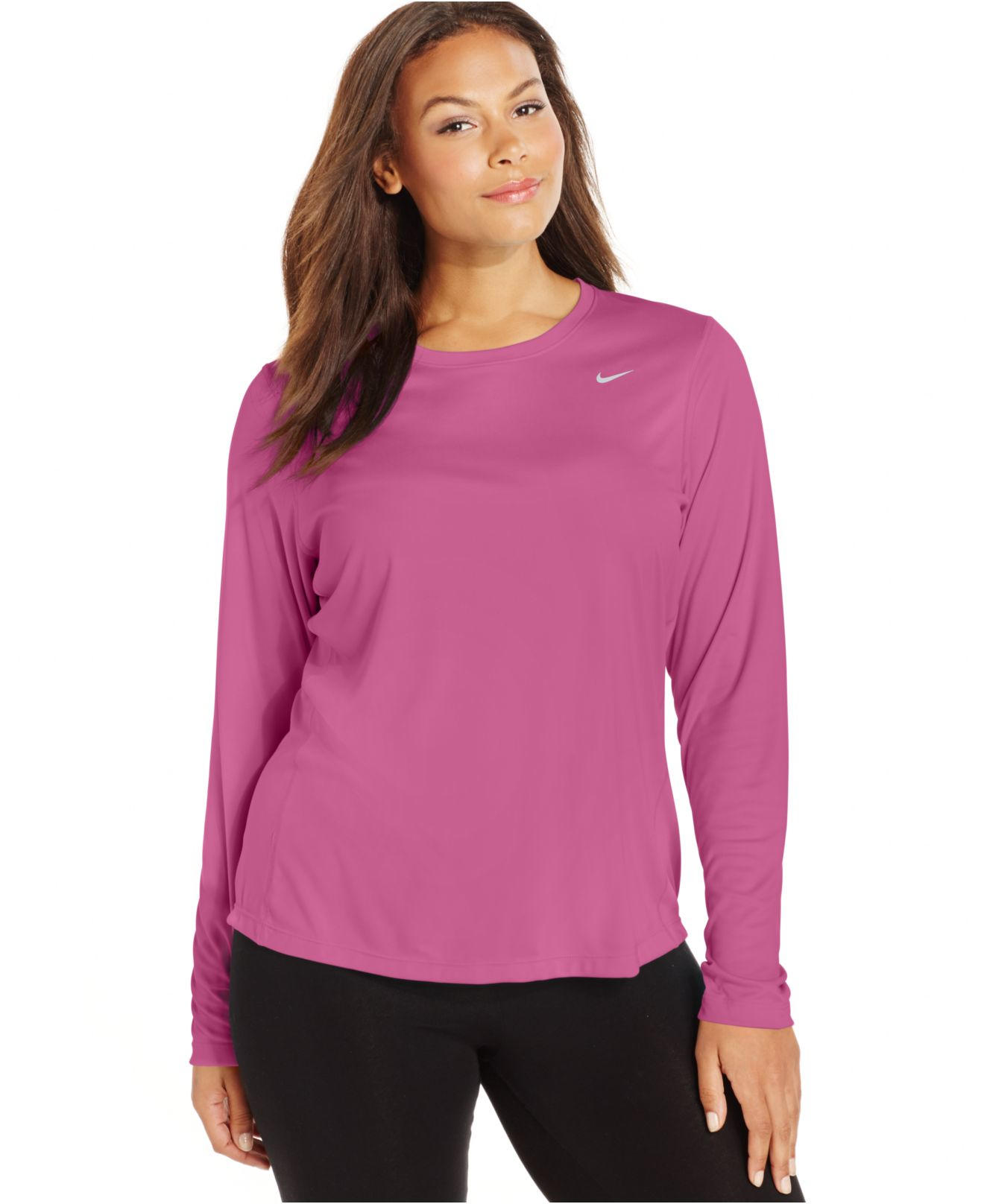 Lyst nike plus size long sleeve dri fit running top in pink for Hot pink running shirt
