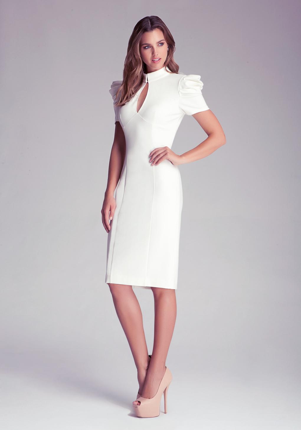 217ea8017e9bcc Bebe Kirstie Pleated Midi Dress in White - Lyst