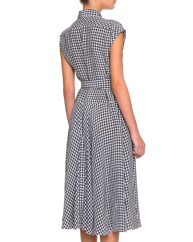 Lyst Bottega Veneta Cap Sleeve Gingham Check Shirt Dress