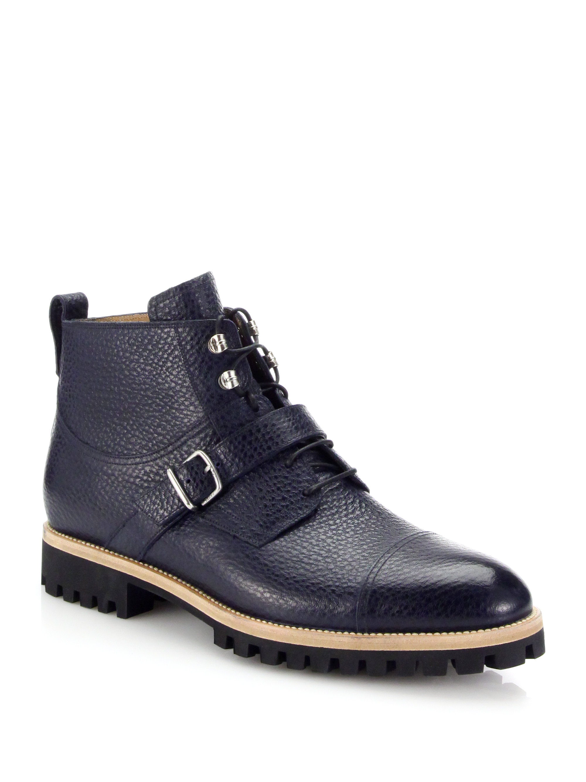 Lyst Bally Portland Pebbled Leather Lace Up Boots In