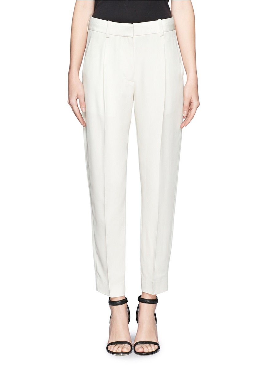 3.1 phillip lim Pleated Silk Pants in White | Lyst