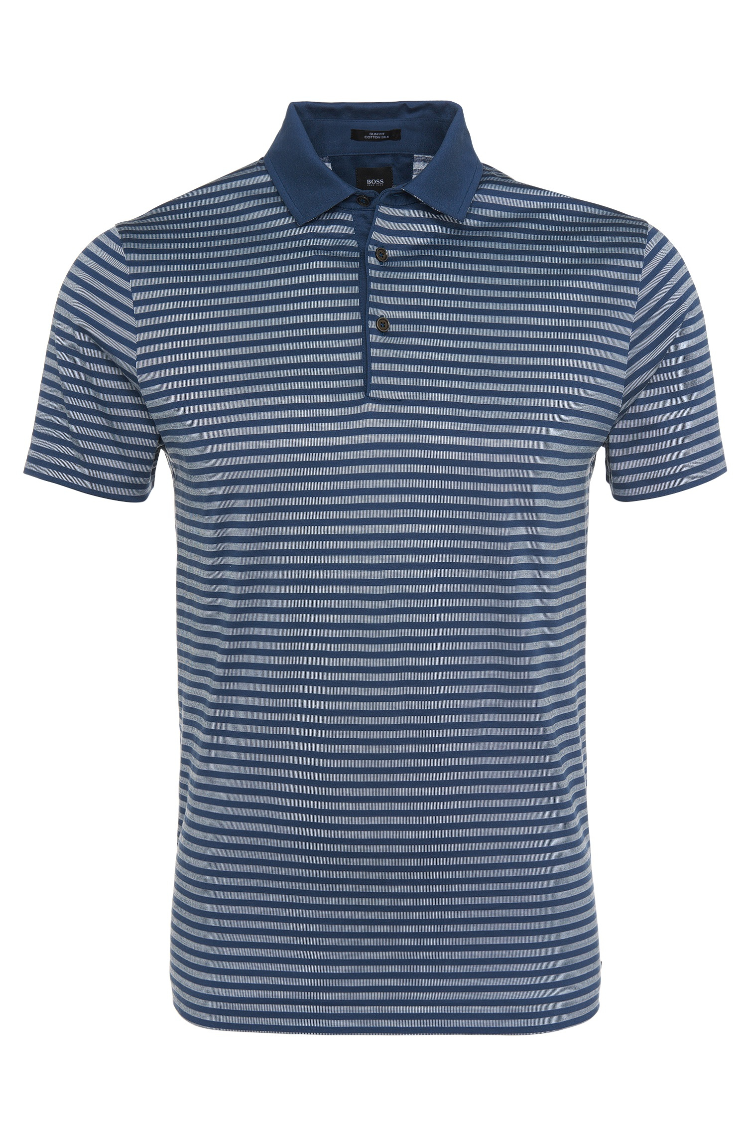 Lyst Boss Striped Slim Fit Polo Shirt In Pure Cotton 39 T
