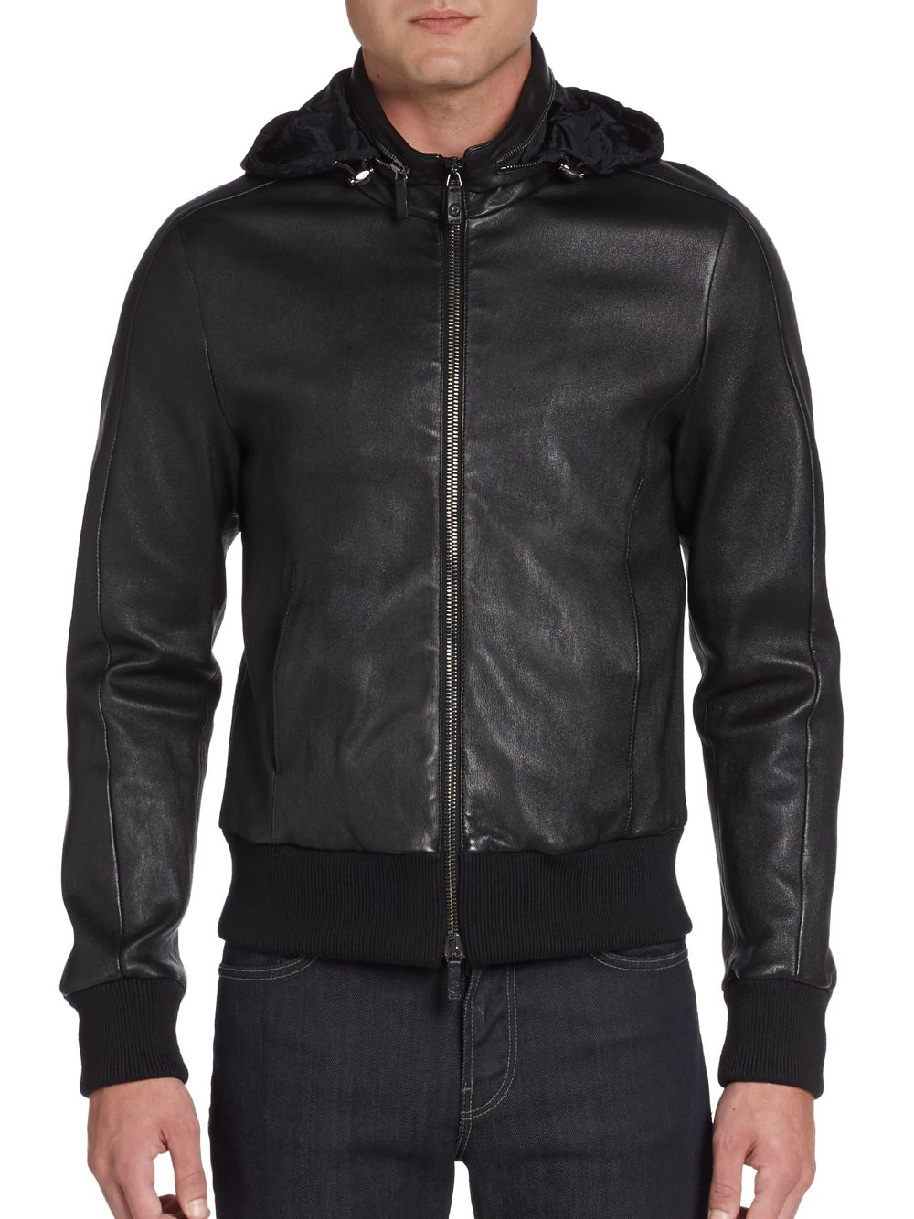 Giorgio armani Hooded Leather Bomber Jacket in Black for Men | Lyst