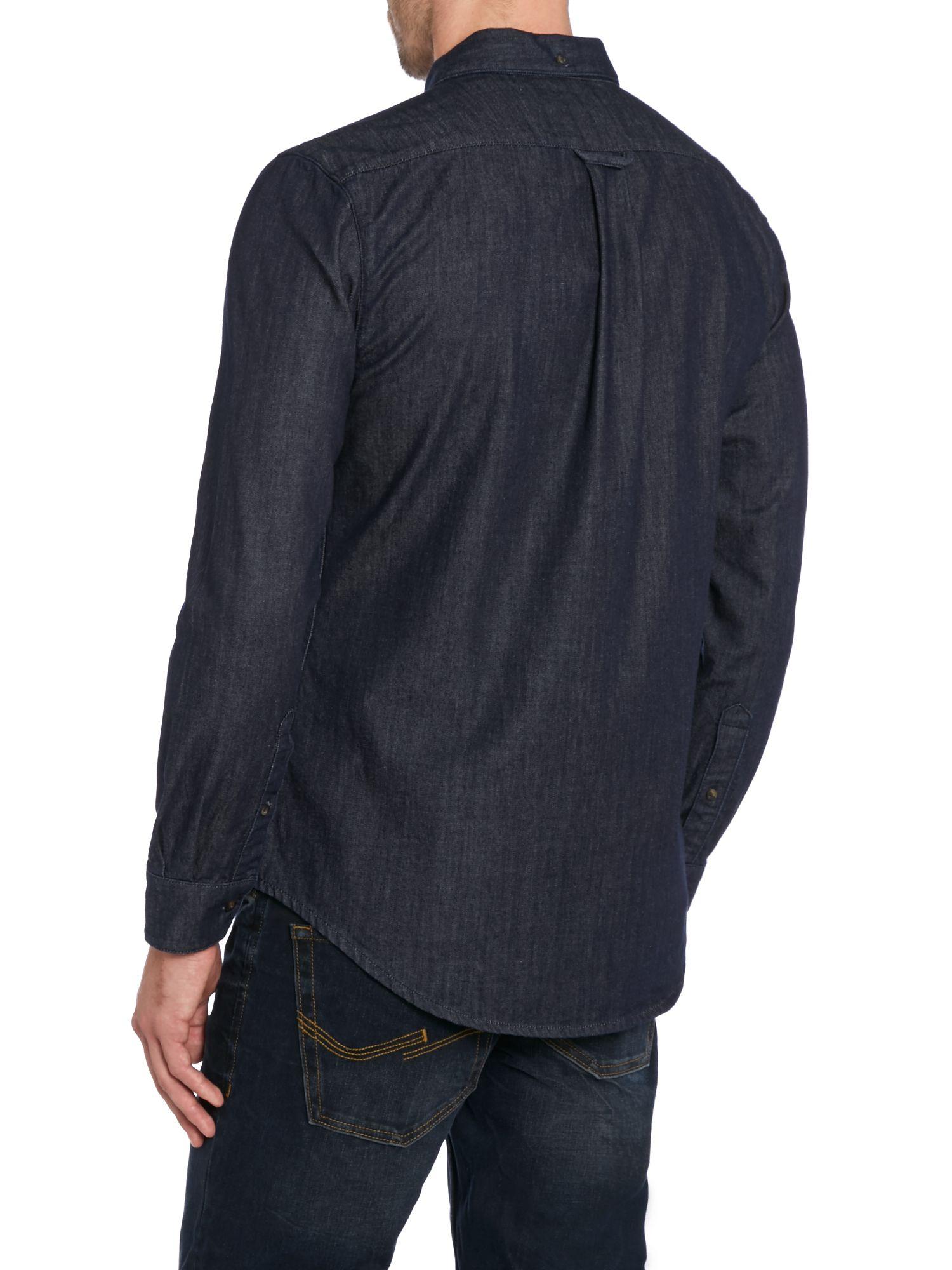 Farah long sleeve denim button down shirt in blue for men for Denim button down shirts