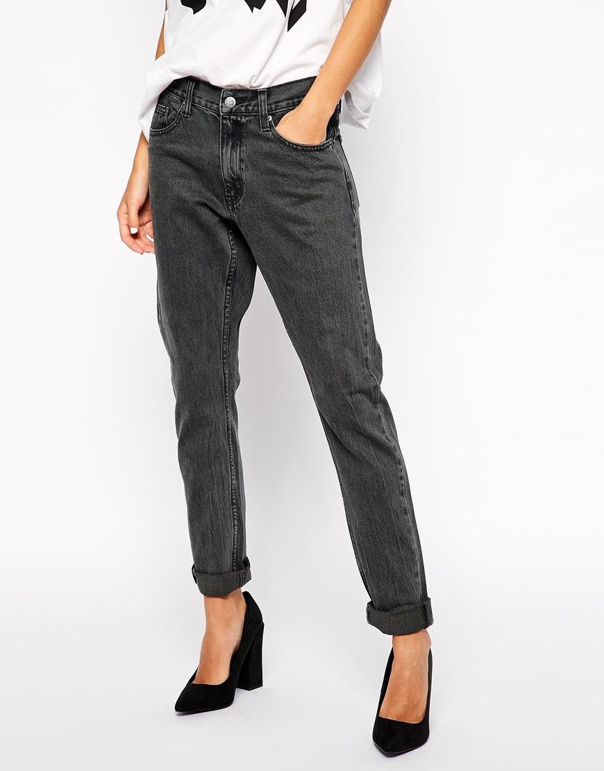 lyst cheap monday thrift boyfriend jeans in black. Black Bedroom Furniture Sets. Home Design Ideas