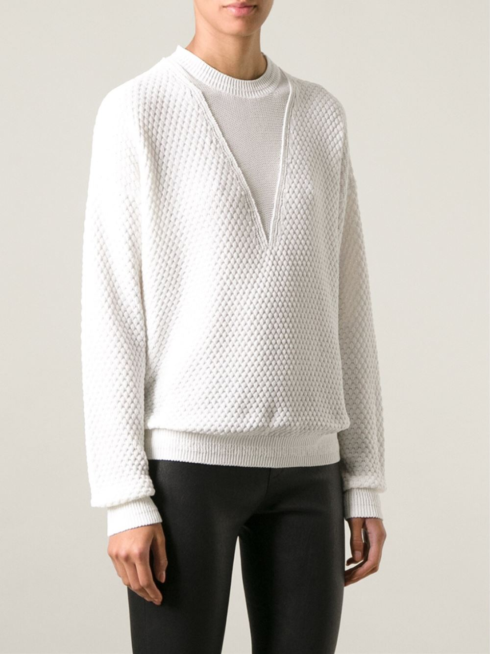Joseph Chunky Knit Sweater in White | Lyst