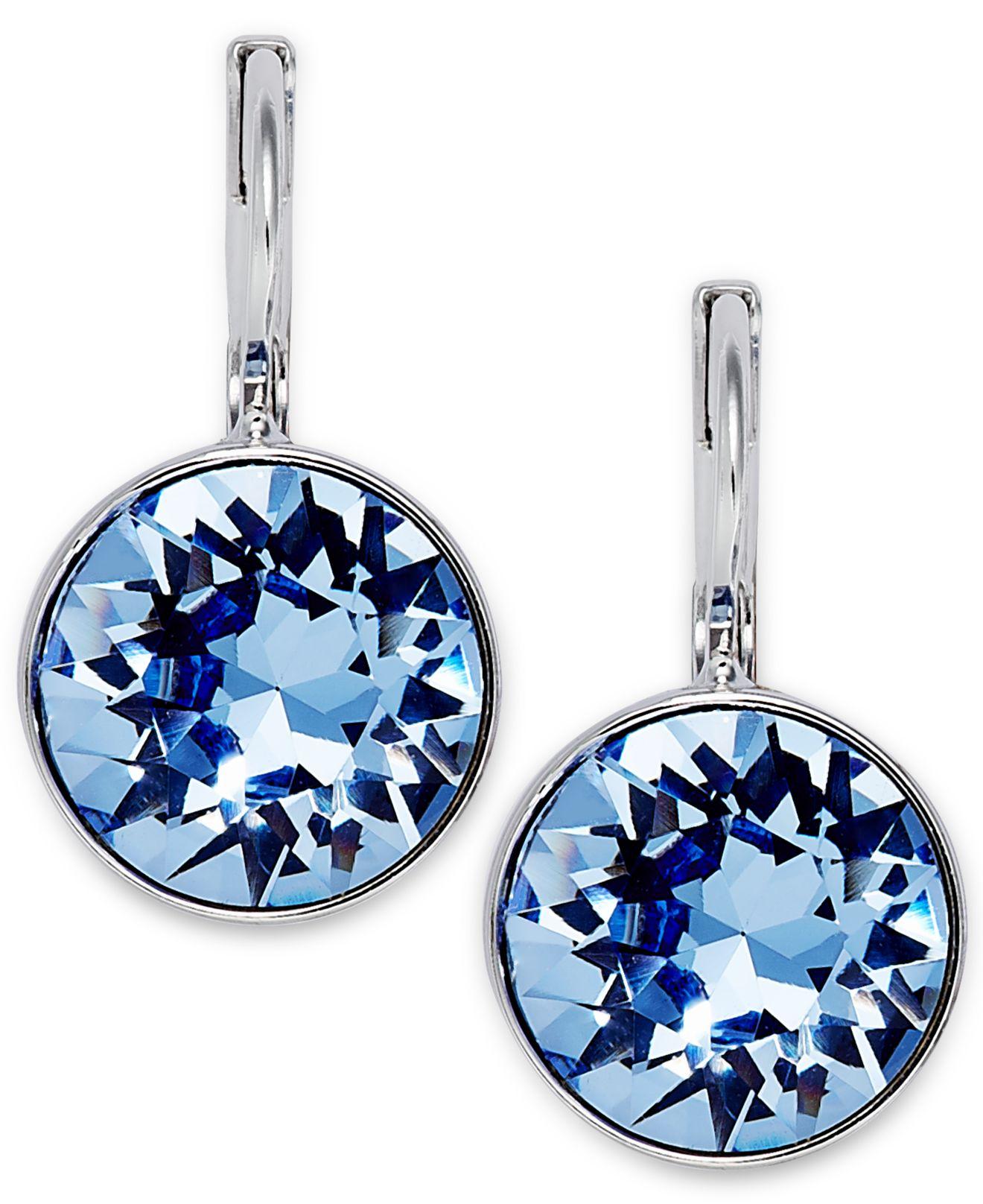 Swarovski Rhodium Plated Light Sapphire Crystal Drop