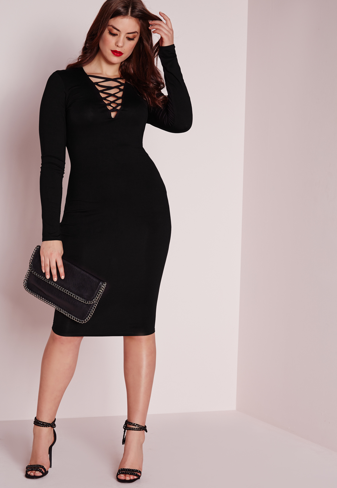 Missguided Plus Size Lace Up Dress Black in Black   Lyst