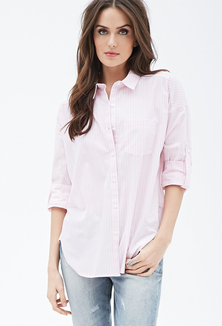 Lyst Forever 21 Contemporary Striped Button Down Shirt