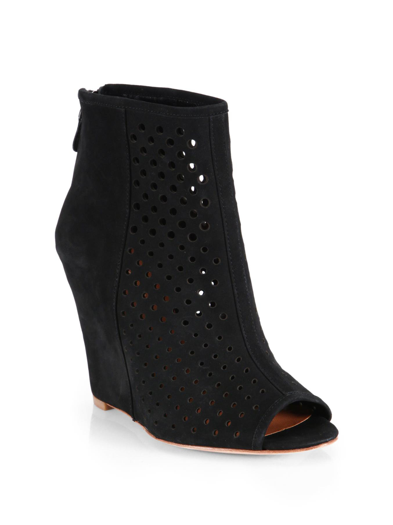 minkoff suede peep toe wedge ankle boots in black
