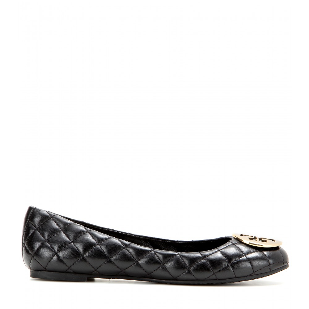 tory burch quinn quilted leather ballerinas in black lyst. Black Bedroom Furniture Sets. Home Design Ideas
